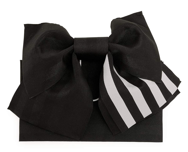 (ソウビエン) 作り帯 黒 縞 リバーシブル リボン型 浴衣向け 夏祭り 簡単 初心者向け レディース