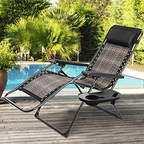Incbruce Zero Gravity Folding Recliner Chair, Adjustable Patio Lounge Chaise, Outdoor Wicker Rattan Furniture with Cup Holder and Pillow for Poolside, Yard, Beach (Gradient Brown)