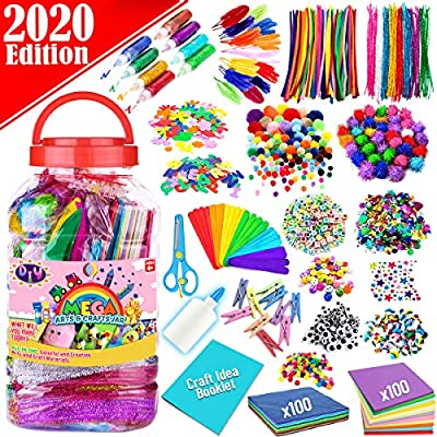 FunzBo Arts and Crafts Supplies for Kids - Assorted Craft Art Supply Kit for Toddlers Age 4 5 6 7 8 9 - All in One D.I.Y. Crafting Collage Arts Set for Kids (Jumbo) by FunzBo