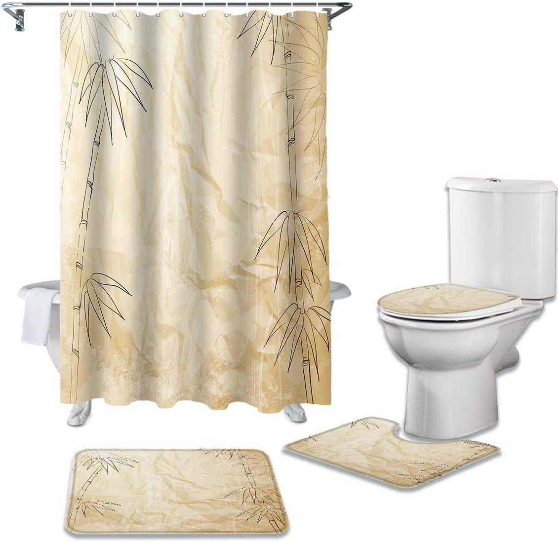 CHARMHOME 4 Cheap sale Piece Shower Tucson Mall Curtain with Non-Slip Rug Sets Toilet