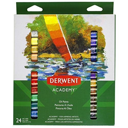 Derwent Academy P6621 Pinturas Al Óleo Pigmentos Intensos, 12 ml, 24 Tubos