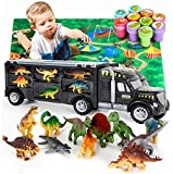 Dinosaur Truck Carrier  Dinosaurs Playset with 12 Toy Dinosaurs and Car  World Dinosaur Toy Set with Rubber Dinosaur Stampers and XL Playmat for Toddlers Boys & Girls for 3, 4, 5, 6, 7 Years Old