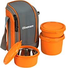 Oliveware Boss Lunch Box - Orange   Steel Range   Microwave Safe & Leak Proof   3 Air-Tight Containers with Bag   Keep Food Hot   School, College & Office Use