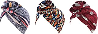Babyku Flower Women Turban,Cotton Elastic Floral Headwear Chemo Beanie Scarves Coverings Hair Loss Wrap Cap