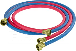 Everflow 25612K 12 Feet Washing Machine Hot/Cold Hose Durable Rubber Kit, EPDM Rubber Tube & Cover, F3/4 In. X F3/4 In. Supply Line Stamped Brass Hose End, UPC Approved, Made in USA (1 Red + 1 Blue)