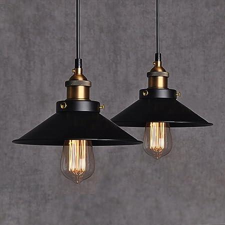 2Pcs E27 Métal Vintage Suspensions Luminaires Retro Plafonniers Luminaire Edison de Culot E27 Suspensions Eclairage de Plafond Noire Suspensions Luminaires Lampe(Ampoule non incluse)
