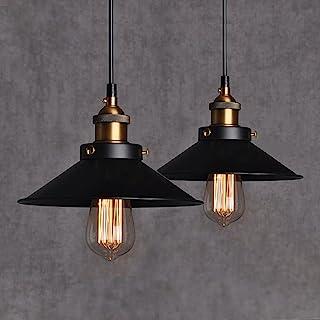 Chrasy Vintage Industrial Colgante de Luz Negro Metal Pantallas de Iluminación Retro Clásico Edison Lámpara de Techo Moderna Iluminación, 2 pcs