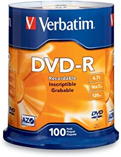 Verbatim DVD-R 4.7GB 16x AZO Recordable Media Disc - 100 Disc Spindle (FFP) (Renewed)