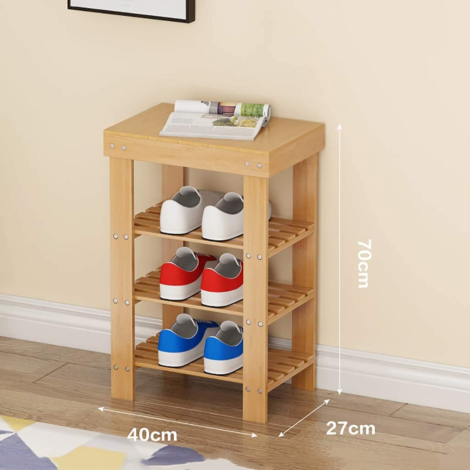 3 Layer shoes Rack Change shoes Bench Small shoes Cabinet at The Door Corridor Storage Stool Bamboo Household Space Saving Multifunction (Size   40  27  70cm)