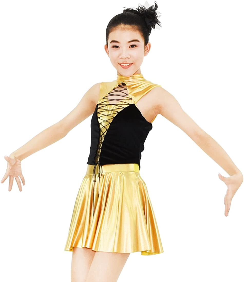MiDee Jazz Dance Costume lowest price Golden Foiled Performa Ranking TOP5 Metallic Spandex