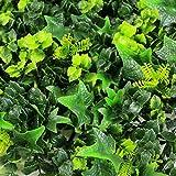 ULAND 12 piezas / cartón , Paneles para setos artificiales , Topiario de hojas verdes cuadradas de imitación, Helechos mixtos Arbusto Hierba Privacidad Verdor Cerca Pared Telón de fondo