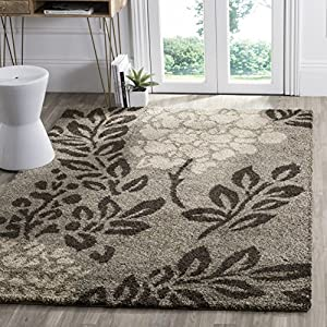 SAFAVIEH Florida Shag Collection SG456 Floral Non-Shedding Living Room Bedroom Dining Room Entryway Plush 1.2-inch Thick Area Rug, 5′ x 5′ Square, Smoke / Dark Brown