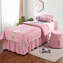 Beauty Salon Massage Mattress Cover Bed Skirt,Beauty Bedspread Four-Piece Suit Tuina Physiotherapy Bed Covers Cotton Fabri...