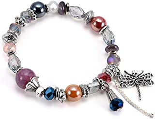 pulsera mujer cristal piedras hielo con flecos libélula colgante cadena aleación coloré Fantasía Bijoux Mujer Niña Estilo Bohemia