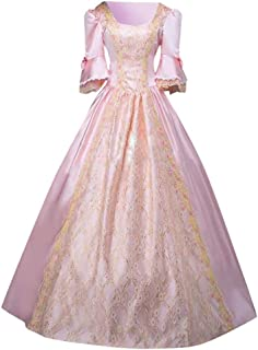 Renaissance Costume for Women Vintage Bell Sleeve Princess Long Dresses Long Sleeve Poplin Queen Ball Gown