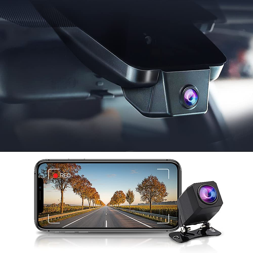 Fitcamx Front and Rear Dash Cam for Toyota Camry 2021 LE SE XLE XSE Nightshade Edition TRD,Dual HD 1440P+1080P, OEM Car Accessories,G-Sensor,Built-in WiFi,Easy to Install with 64GB Memory Card