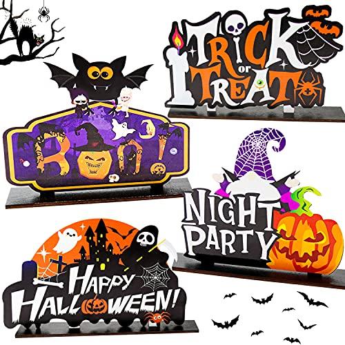 4 pezzi di decorazioni per la tavola di Halloween - Centrotavola in legno di zucca con fischietto, statuine di dolcetto o scherzetto di Halloween da tavolo per decorazioni per feste in camera