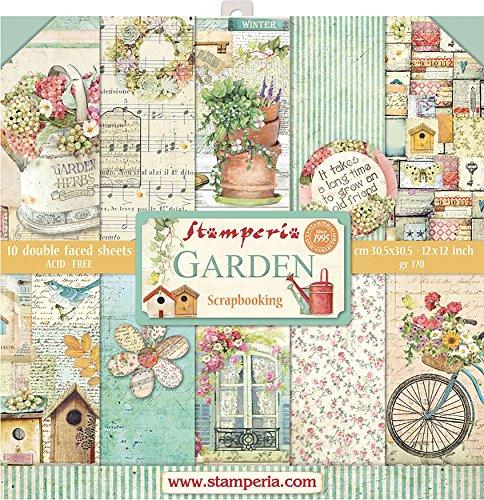 """Stamperia Bloc de Scrapbooking 10 Hojas 30.5x30.5 (12""""x12"""") 2 Caras-Garden, Multicolor, 30.5cmX30.5cm"""