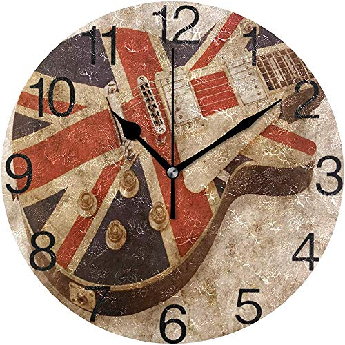 L.Fenn Grunge Style Brit Pop Gitaardesign Ronde wandklok, stille non-ticking Oil Painting Decoratief voor home kantoor School Clock Art