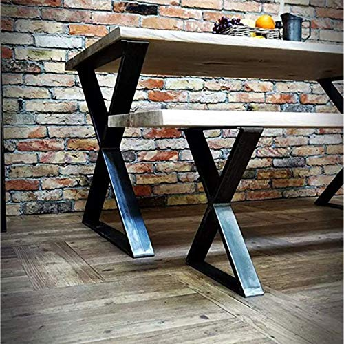 FURVOKIA 2 Pack Industrial Rustic Type X Metal Table Legs Shelf Legs Brackets,28'' High,Coffee Dining Tables&Bench Legs&End Table Legs(28' Tall X 20' Wide, Black)