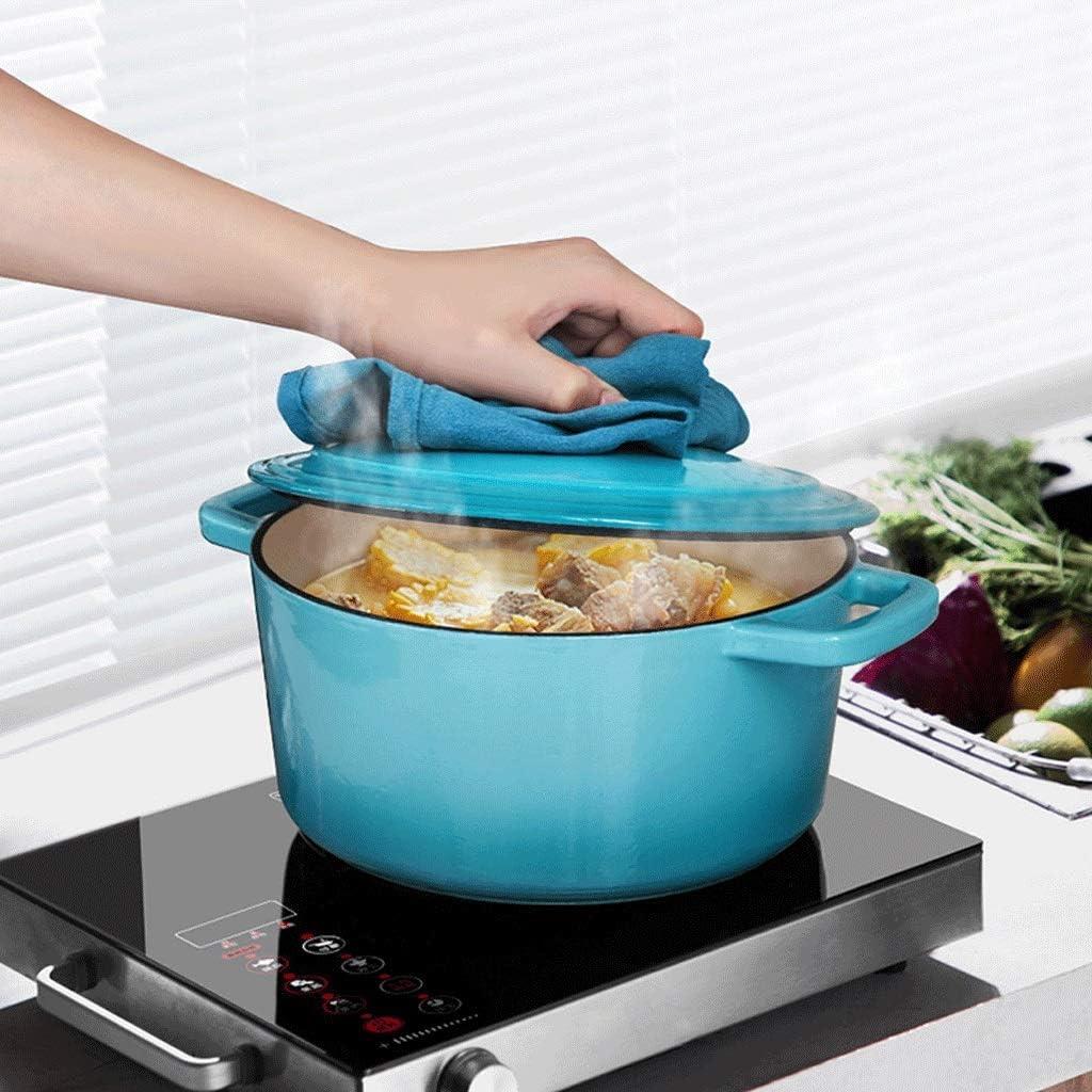 lejia Émaillé antiadhésives Stockpots Fonte Batterie de Cuisine Four Pot avec Double Poignées chauffantes marmite à Soupe Faitout Batterie de Cuisine 1pc (Color : Blue) Blue