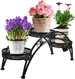Dazone Wrought Iron Pot Plant Stand for Three Plants Indoor or Outdoor Garden Patio Decor Arch Design Black