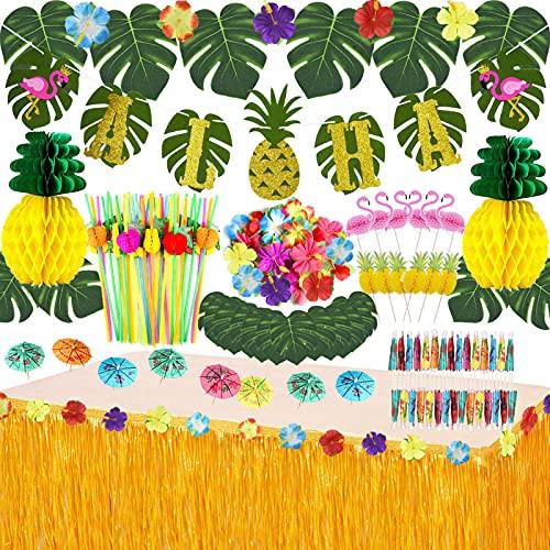 JOPHMO Tropical Luau Party Decoration Pack Hawaiian Beach Theme Party Favors Luau Party Supplies (112 PCS) Including Banner, Table Skirt, Straws, Flamingo, Pineapple Décors.