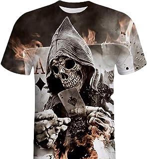 Lenfesh Camisa de Manga Corta de la Camiseta de la Manga de la Camiseta de la impresión del cráneo 3D para Hombre Barata D...
