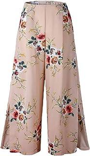 YiyiLai Women Loose Wide Leg Floral Flowy Beach Sexy Trouser Long Pants Khaki