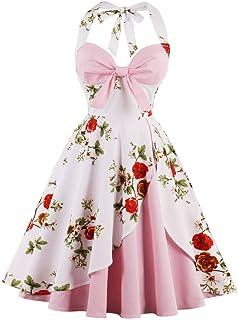 Lazzboy Damen Vintage Polka Neckholder Kleid Floral Sping Retro Cocktailkleid Rockabilly 50er Petticoat Faltenrock 1950er Kleider Cocktail Festliche