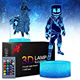 2 Patterns Fortress 3D Illusion Lamp - Fortress Night Lights Toys LED Night Light for Kids Room Decor, 16 Color Change with Remote Timer, Boys Girls Birthday Gifts for Battle Royale Fans