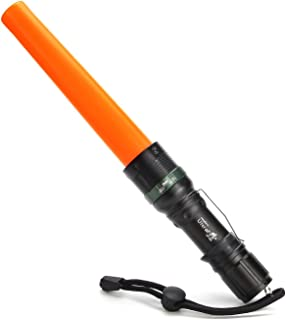 UltraFire 11-Inch Signal Traffic Wand Baton LED Flashlight with Strobe Mode, Wrist Strap Lanyard, 250 Lumens, Orange Finish