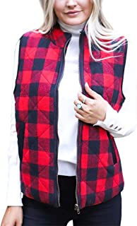 Ivay Womens Buffalo Plaid Vest Quilted Fall Puff Lined Zip Jacket Gilet with Pockets