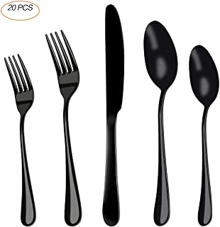 Catnee, 20-Piece Stainless Steel Flatware Utensils Cutlery Set Service for 4, Silverware Set, Include Knife/Fork/Spoon, Mirror Polished, Dishwasher Safe