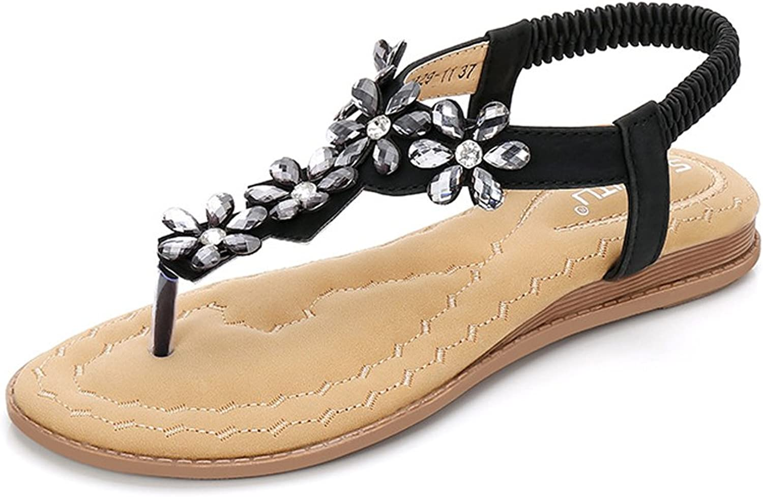 Mubeuo Women's Leather Jeweled Summer Floral Ladies Sandles Thong Sandals