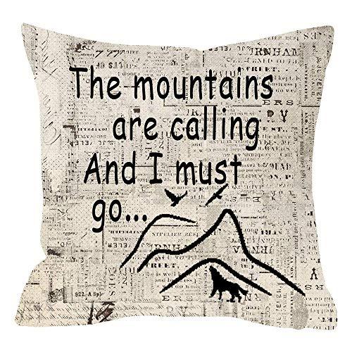 Elsaone Kissenbezug Vintage Zeitung Papier Hintergrund Wanderliebhaber Lustiges Zitat Die Berge rufen und ich muss gehen Kissenbezug für Schlafsofa 18x18 Zoll 45x45 cm