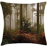 Fodera per cuscino Forest Throw Pillow, Mystic Dark Fog Atmosphere in the Forest Woodland Immagine nessuno di silenzio, federa, marrone arancione verde, 45X45 cm