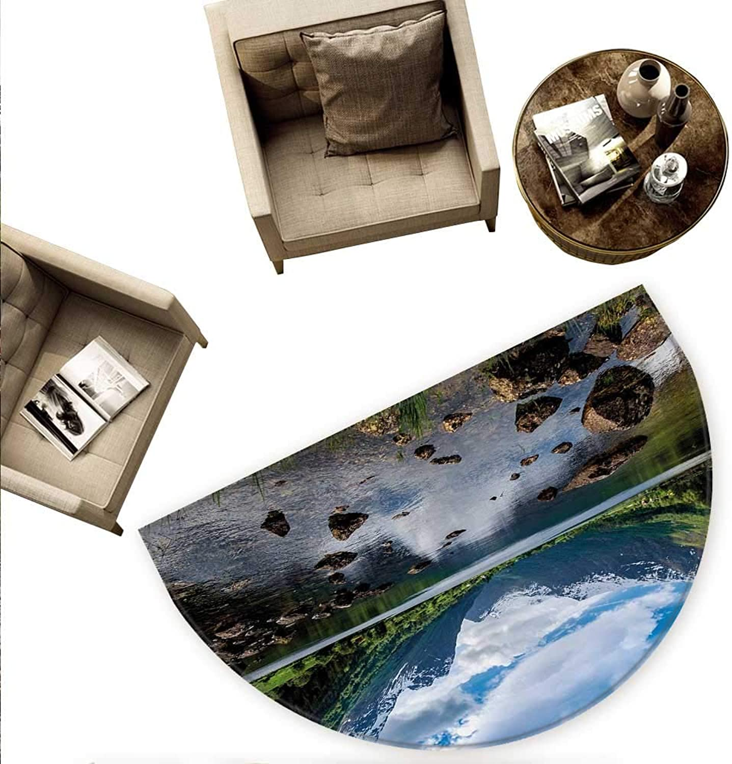 Nature Semicircle Doormat Mountains River and Open Sky Natural Beauties Norway Fjords Nordic Landscape Halfmoon doormats H 70.8  xD 106.3  White Green Brown