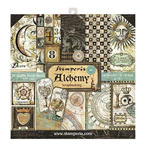 "Stamperia Bloc de Scrapbooking 10 hojas 30.5x30.5 (12""x12"") 2 caras - Alchemy, Papel, Multicolor, 30.5cmX30.5cm"