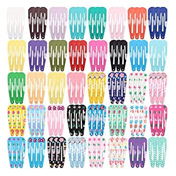120 Pack Solid Candy Color and Colorful Small Hair Clips 2 Inch Snap Hair Clips Barrettes Hair Accessory for Babies Girls Teens Adult Assorted