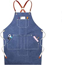 Work Apron, Premium Heavy Duty Waxed Canvas Tool Apron With Tool Pockets, Waterproof Oil-resistant, Cross-Back Straps, Adj...