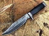 Perkin Knives Damascus - Cuchillo de hoja fija con vaina - AR601, negro (Black Micarta)