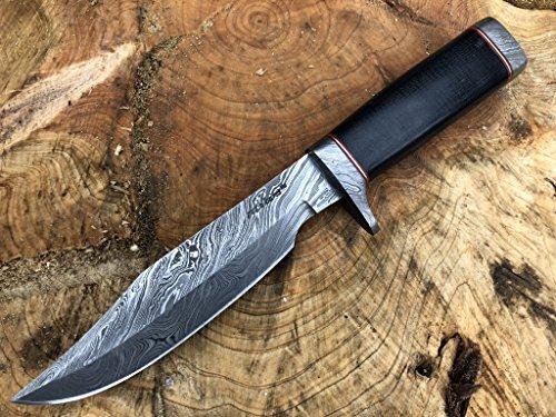 Perkin Messer Damastmesser Jagdmesser mit Lederscheide Feststehendes Messer für Jagdmesser