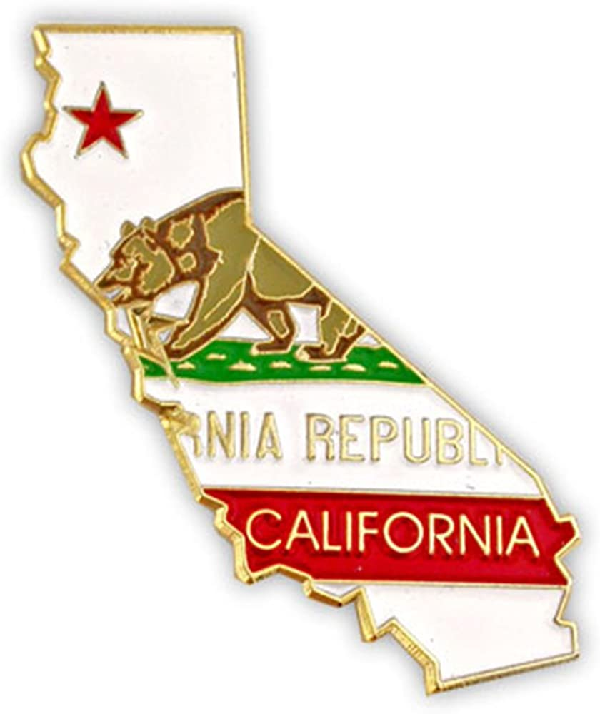 PinMart State Shape of California and California Flag Lapel Pin