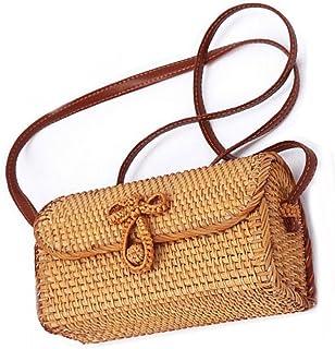 New Rattan Bag for Women, Natural Handmade Woven Purse Handbags Straw Shoulder Crossbody Bag Boho Bag Bali (New Rattan Bags)