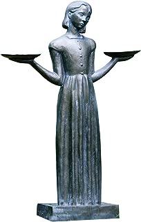 Potina Savannah Bird Girl Statue with Pedestal - Lawn and Garden Sculpture (Medium-28 H)