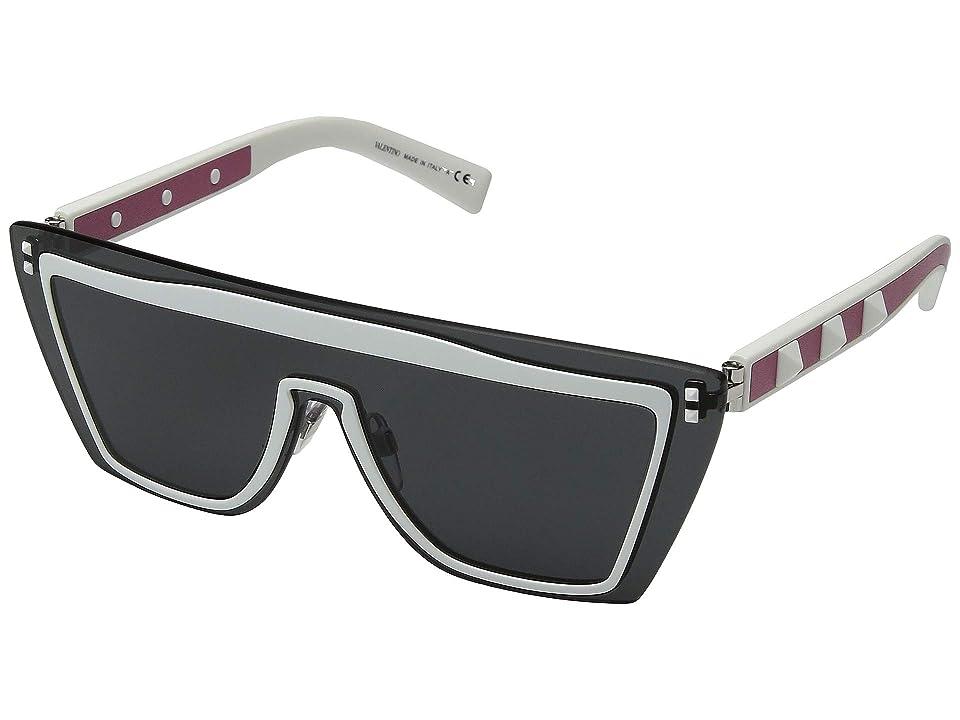 Valentino 0VA2026 (Matte White/Leather Rosa/Dark Smoke) Fashion Sunglasses