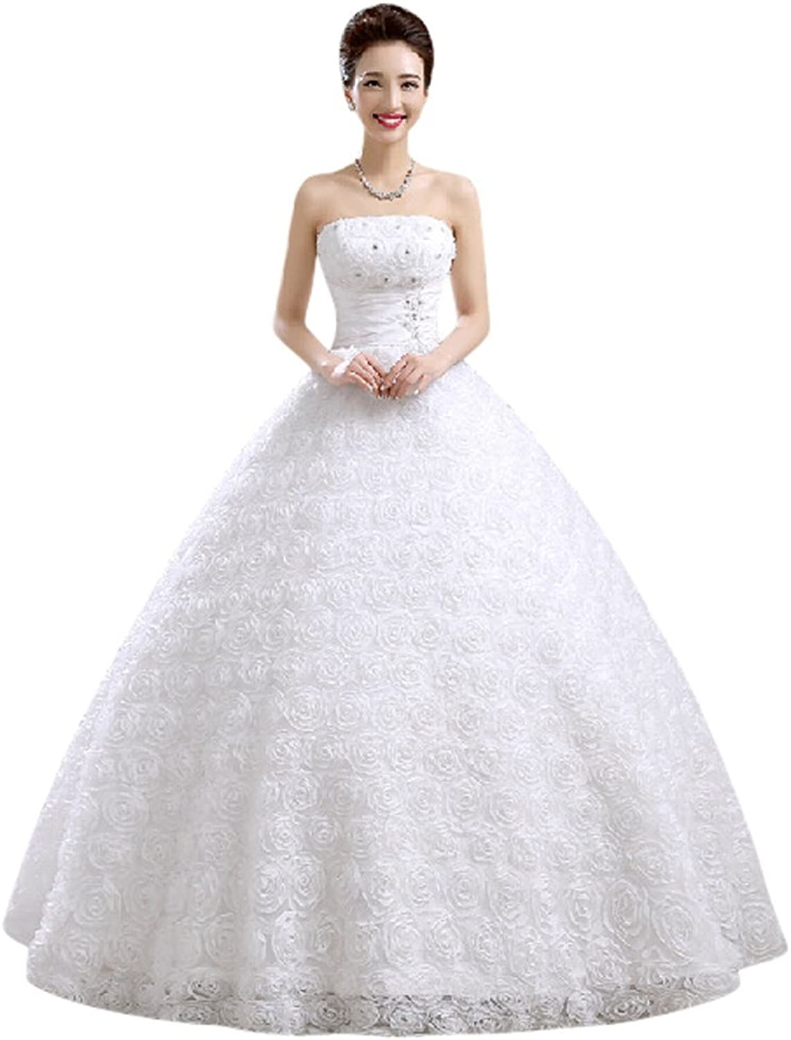 Drasawee Women's Flowers Rhinestones Corset Lace Tulle Wedding Dress Bridal Gowns