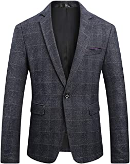SUSIELADY Men's Blazer Jacket Herringbone Sport Coat Smart Formal Dinner Cotton Suits Slim Fit One Button Notch Lapel Coat