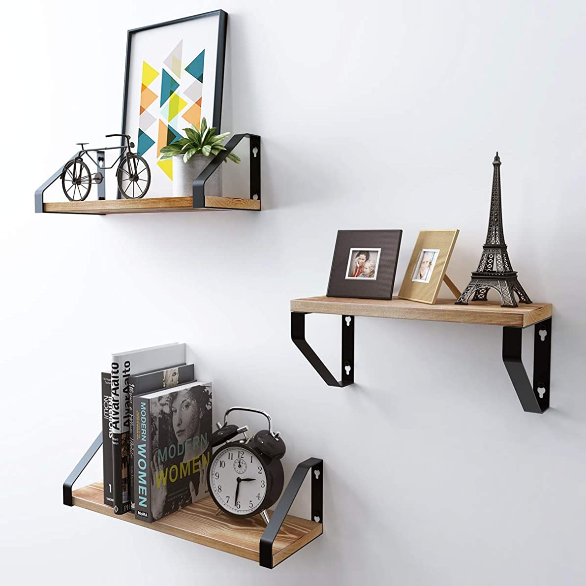 Homemaxs Floating Shelves Wall Mounted Set of 3, Natural Rustic Solid Wood Wall Storage Shelves with 2 Display Modes for Bathroom, Bedroom, Kitchen, Living Room